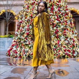 Zara marigold cowl neck dress size M